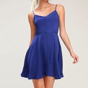 Lulu's Royal Blue Button Front Skater Dress